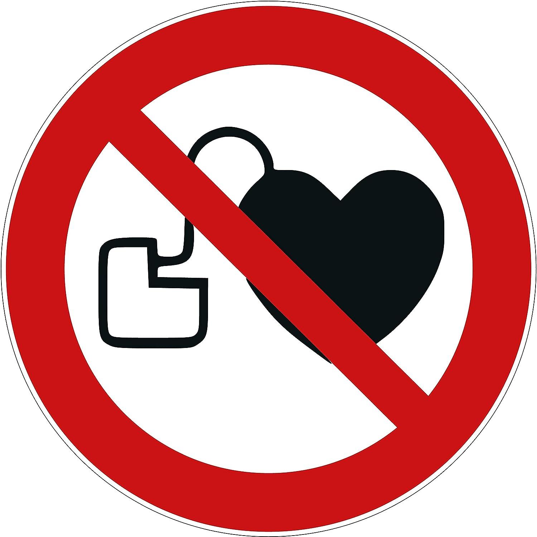10 Aufkleber Kein Zutritt fü r Personen mit Herzschrittmachern oder implantierten Defibrillatoren Aufkleber 95mm Schild ü berkleben Verbotszeichen Aufkleber Herzschrittmacher verboten P007 VANER