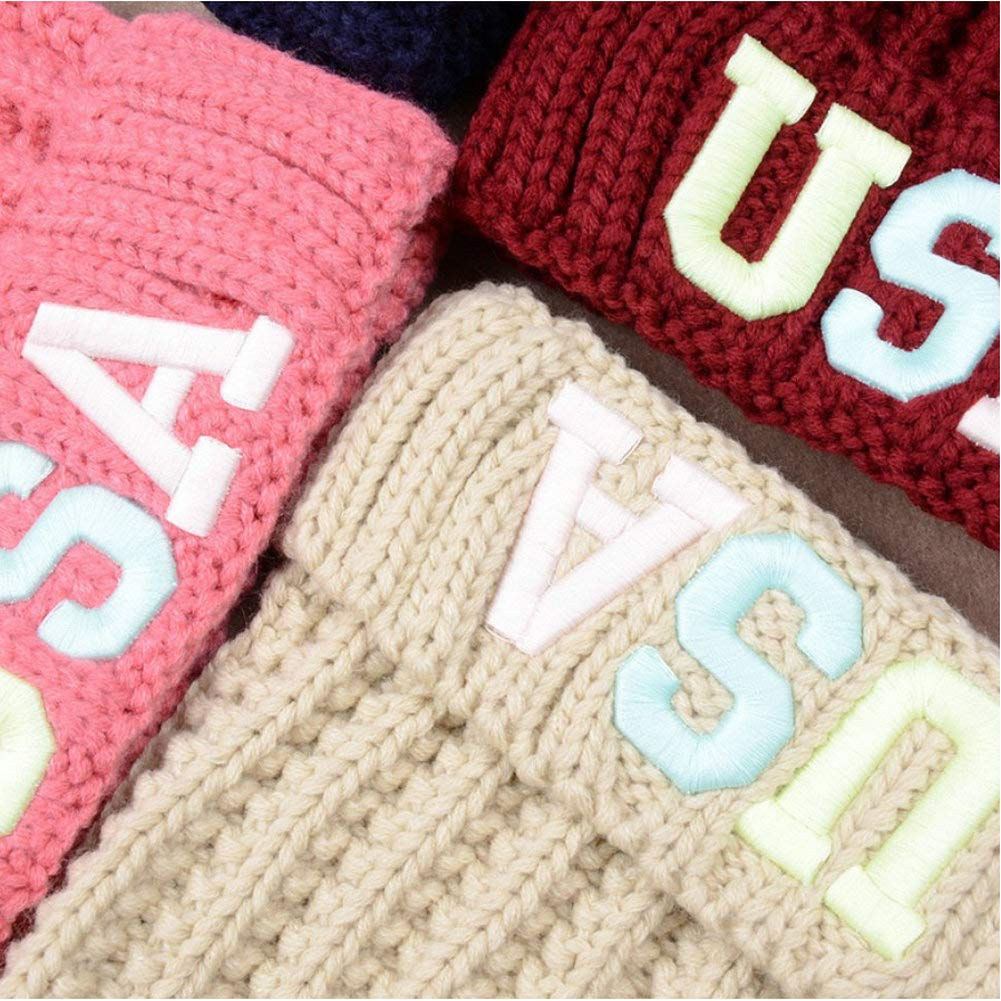 HCY 1Pcs Pom Pom Womens Hat Knitted Beanie Cap Warm Embroidery USA Printed Riding Hat Black