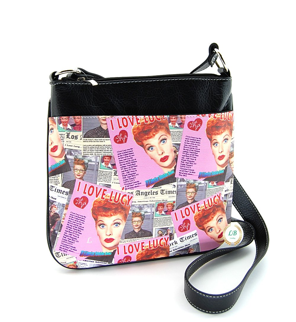 I Love Lucy Collage Cross Body Bag, Messenger Bag (Pink)