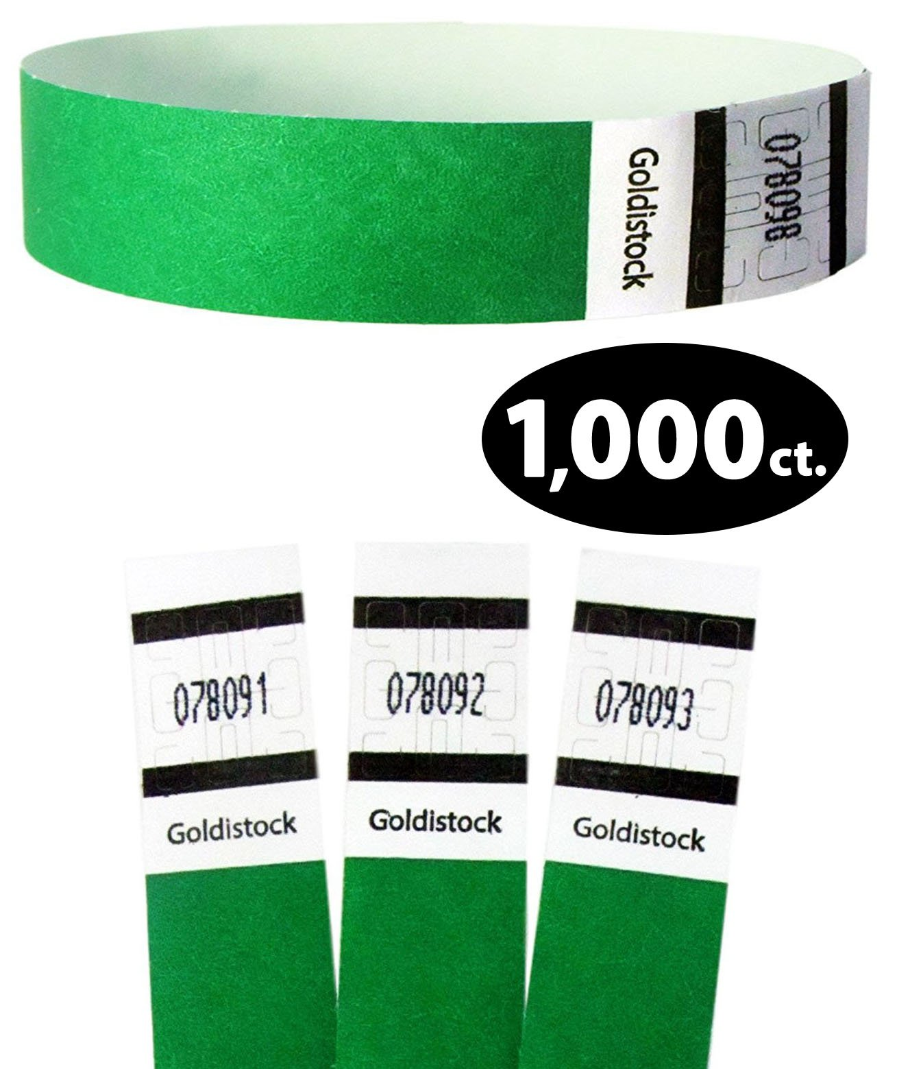 Goldistock Original Series - 3/4'' Tyvek Wristbands Value Pack Evergreen Green 1,000 Count - Event Identification Bands (Paper - Like Texture)
