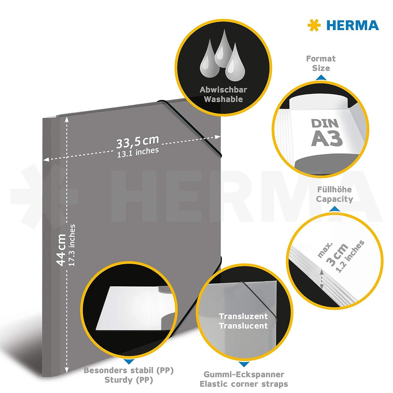plastica /Cartellina con con elastici di gomma trasparente DIN A3 Gelb 1/pezzi HERMA 19500/