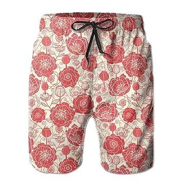 dfegyfr Flores Rojas Color Casual Pantalones de Playa para Hombre ...