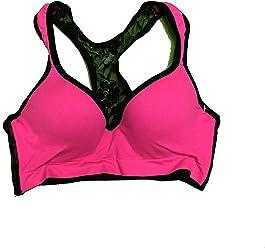 39237b203a Youmita Women s Push-Up Lace Racerback Sports Bra Activewear Large Hot Pink  Black
