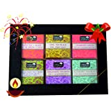 Happy Elephant Hand Crafted Gift Wood Box 60 Tea Bags 6 Exotic Flavours - Masala Chai, Peach, Blueberry, Passion Fruit, Cranberry, Pomegranate