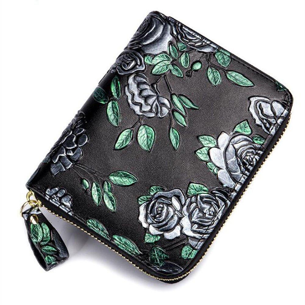DcSpring RFID Blocage Porte-Cartes Femme en Cuir Véritable Petit Portefeuille Floral Fashion Porte-Monnaie Elégent Mode avec Zip (Noir 1)