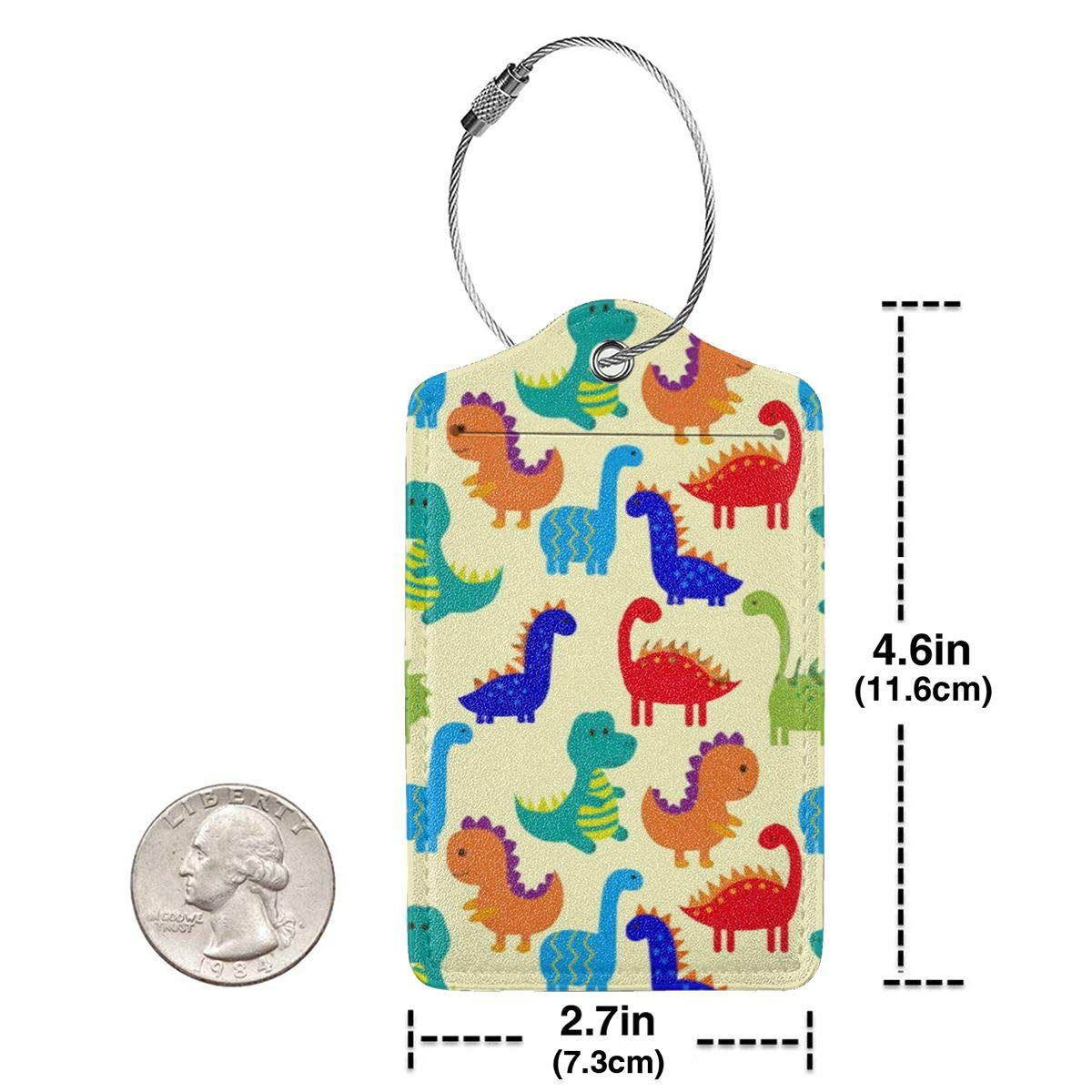 Cute Colorful Dinosaurs Luggage Tag Label Travel Bag Label With Privacy Cover Luggage Tag Leather Personalized Suitcase Tag Travel Accessories