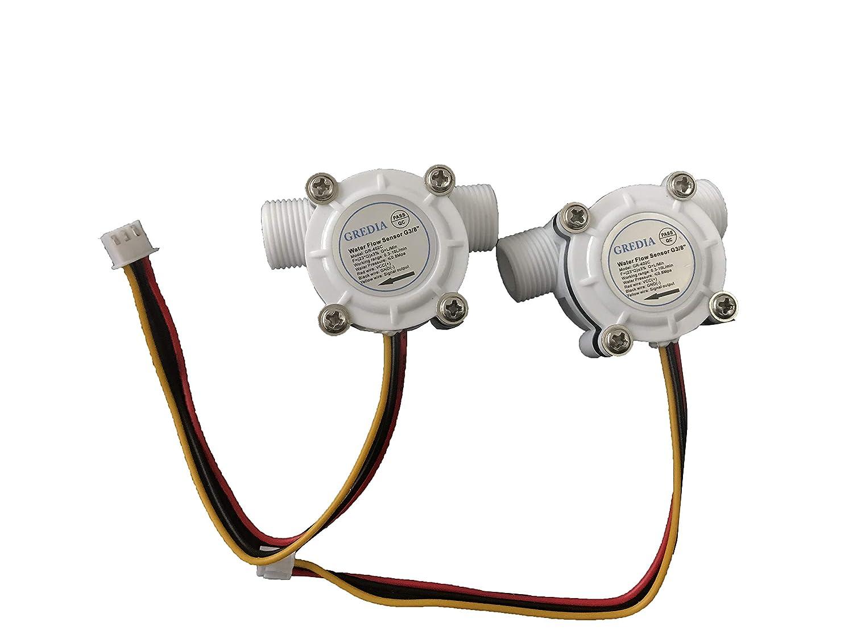 GREDIA 3//8 Water Flow Sensor Food-Grade Switch Hall Effect Flowmeter Fluid Meter Counter 0.3-10L//min Pack of 2