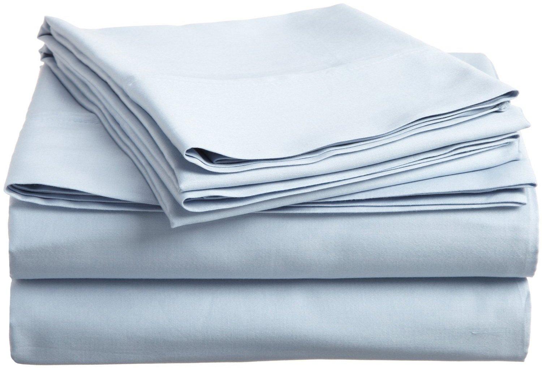 100% Premium Long-Staple Combed Cotton 300 Thread Count Full 4-Piece Sheet Set, Deep Pocket, Single Ply, Solid, Light Blue Luxor Treasures LBFLSHSL300