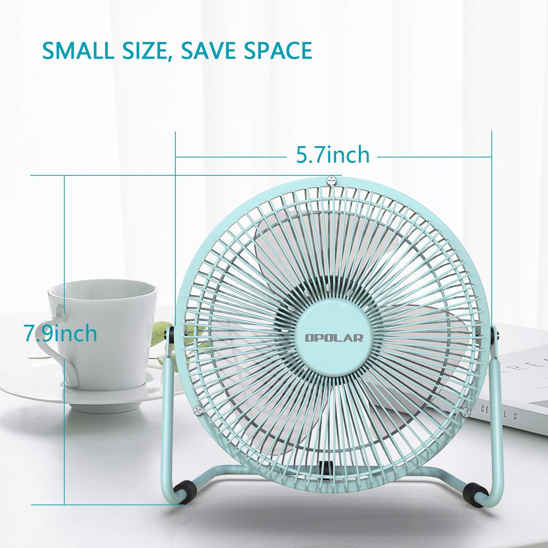 Mini Metal Cooling Fan Dorm Office Table USB Powered Only OPOLAR Office Quiet Desk Fan 360 Degree Rotation 5V 6 inch Enhance Airflow Black Perfect Personal Fan