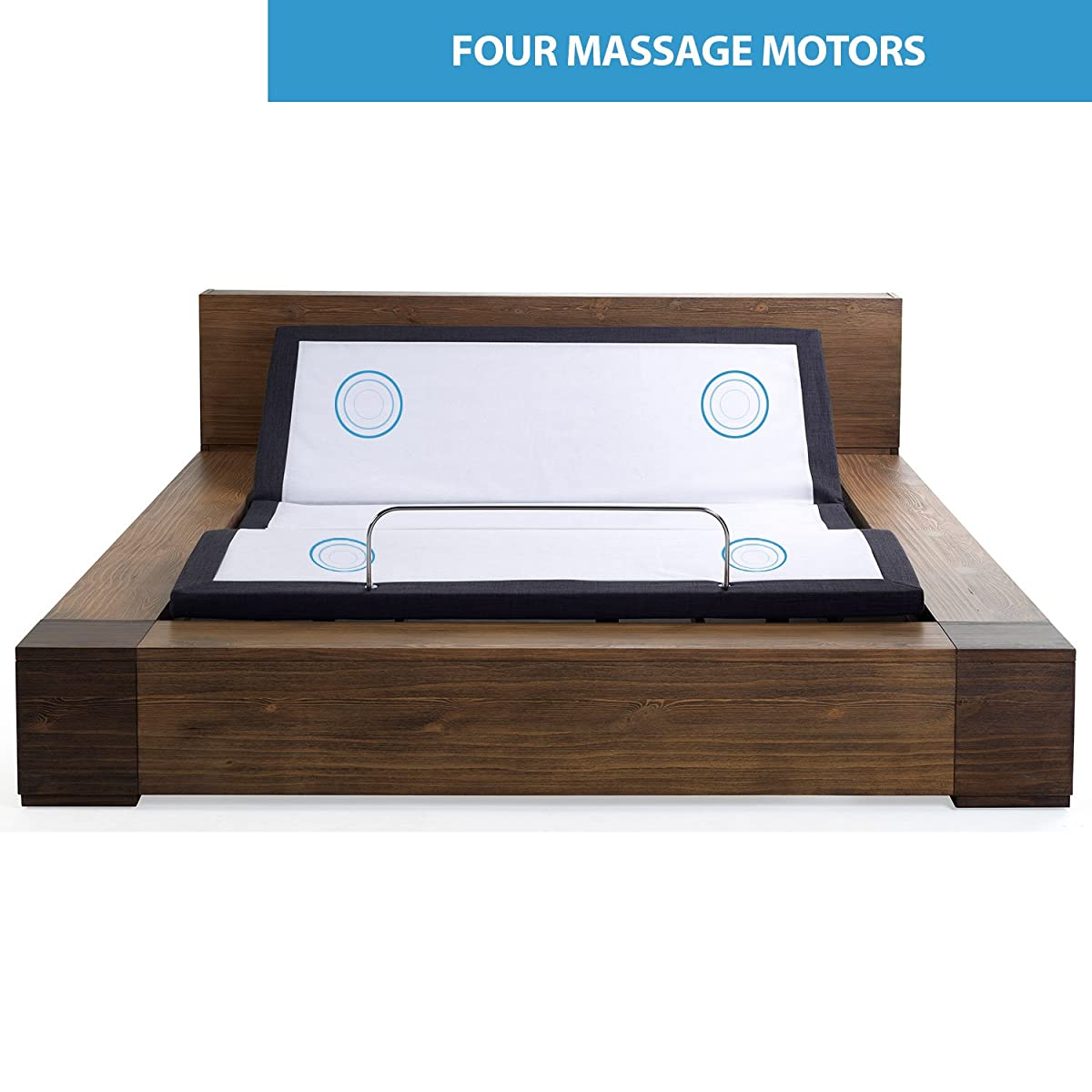 Queen Adjustable Bed Frame with Massage, Anti-Snore, Zero Gravity, Dual USB Charging Station, Under Bed Nightlight, Wireless Remote Head and Foot Incline and No Tools Required Assembly