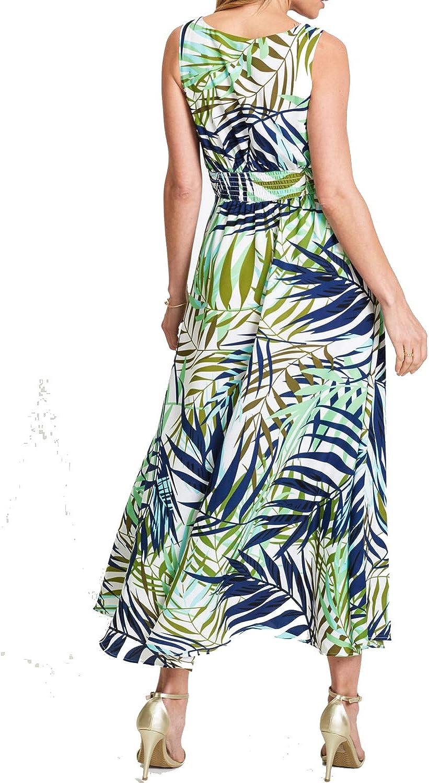REPHYLLIS Womens Summer Boho V Neck Vintage Print Floral Maxi Beach Long Dress