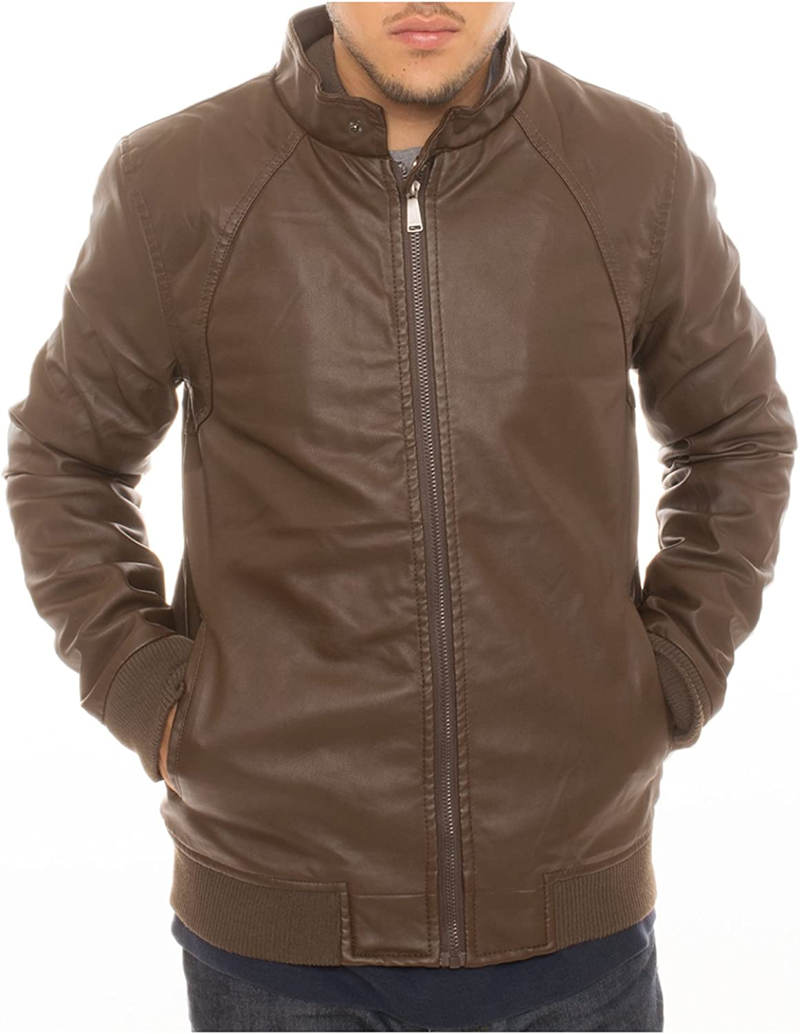 I5 Apparel Mens Motorcycle Bomber Faux Leather Jacket Fleece Lined with Ribb Bottom