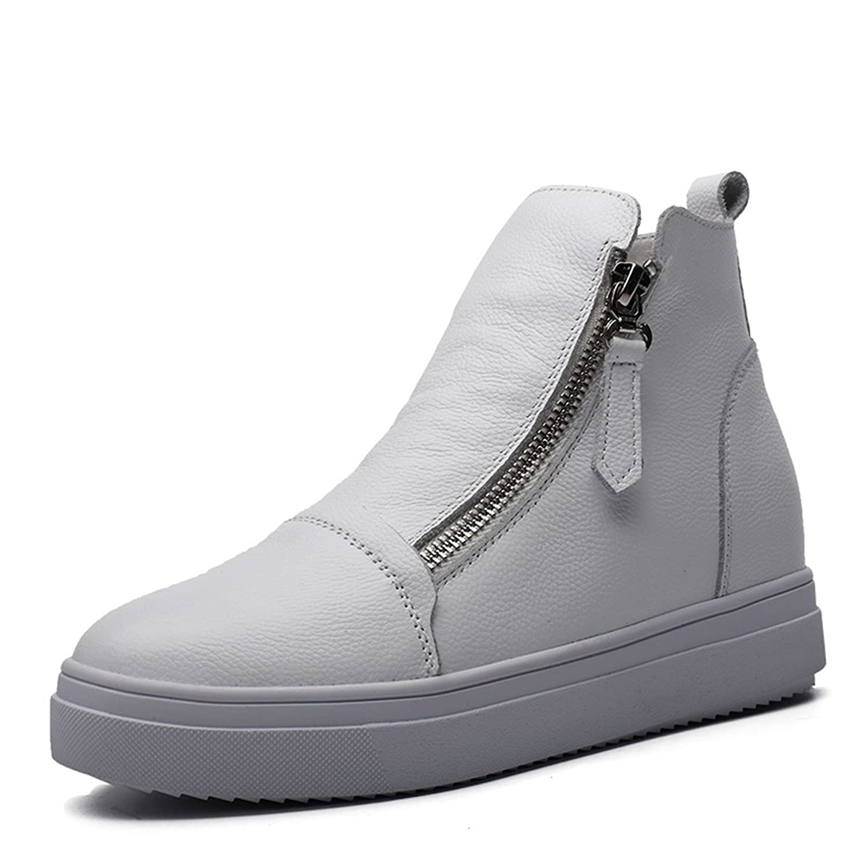 Damen Sneaker Reißverschluss Keilabsatz Aufzug Tragen Wärme High-Top Freizeit Gummisohle High-Top Trekking Schwarz-Samt 36 EU Schuhe wtb5eXK