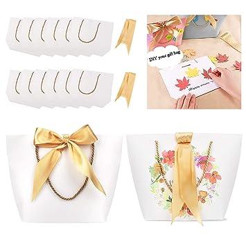 Phogary Sacs Cadeaux Avec Poignées 12pcs 11x79x35 Papier Sac De Fête Avec Ruban Pour Un Cadeau De Mariage Blanc Moyen