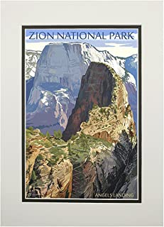 product image for Zion National Park, Utah - Angels Landing (11x14 Double-Matted Art Print, Wall Decor Ready to Frame)
