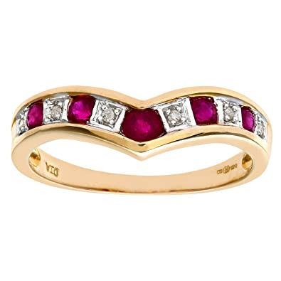 Naava Ladies 9ct Yellow Gold Diamond And Ruby Crossover Ring vD5xtiWD5