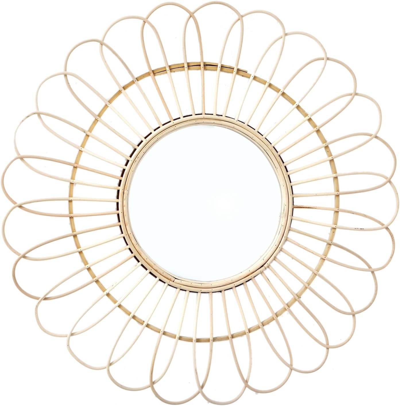 Carousel Home and Gifts 50cm Wicker Rattan Decorative Hanging Bamboo Glass Mirror Flower Design