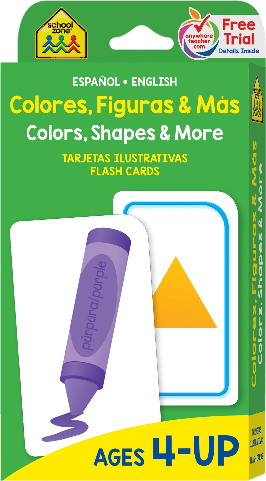 School Zone Bilingual Colors Shapes More Flash Cards Ages 4 Preschool To Kindergarten Esl Language Immersion Numbers And More Spanish And English Edition Spanish Edition School Zone Joan Hoffman