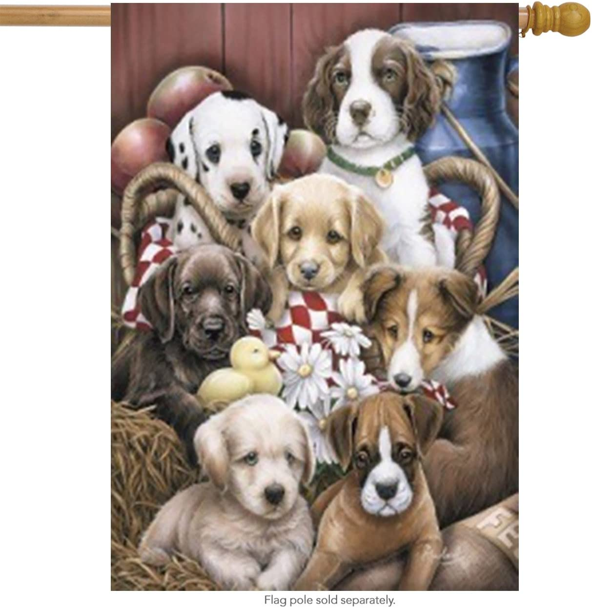 """Briarwood Lane Puppy Pals Summer House Flag Puppies Flowers Barn Large Banner 28"""" x 40"""""""