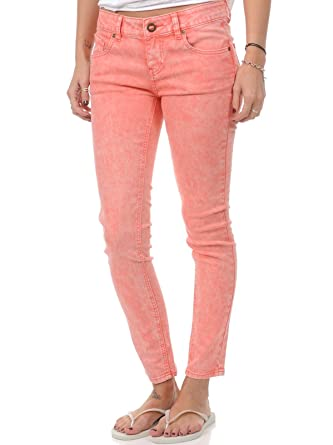 87e60027a74 Volcom Jeans Femme Oily Skinny Colour Electric Coral  Amazon.fr ...