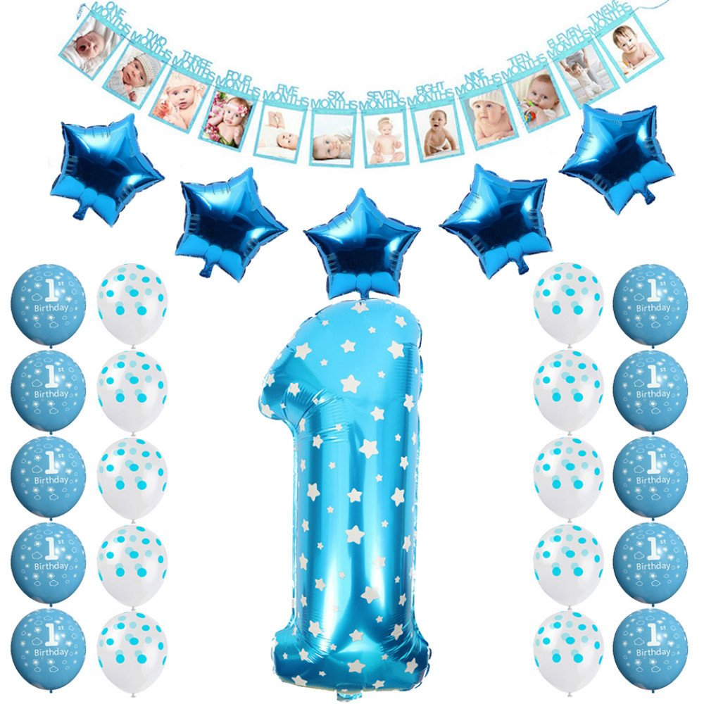 Amazon FCY 1 Year Old Birthday Party Decorations Baby Boy Girl Pink Blue Latex Balloons Foil 12 Months Photo Bunting Banner Babyshower Set