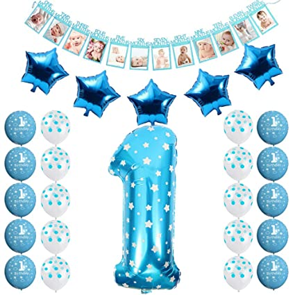 FCY 1 Year Old Birthday Party Decorations Baby Boy Girl Pink Blue Latex Balloons Foil 12