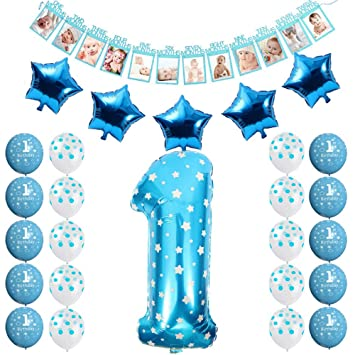 Amazon FCY 1 Year Old Birthday Party Decorations Baby Boy Girl Pink Blue