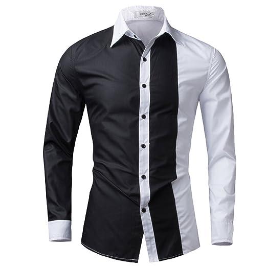 fc74849a48352 LOKOUO NEW Fashion Men Shirt Black White Shirt Long Sleeve Slim Fit Camisa  Masculina Casual Male Hawaiian Shirts at Amazon Men s Clothing store