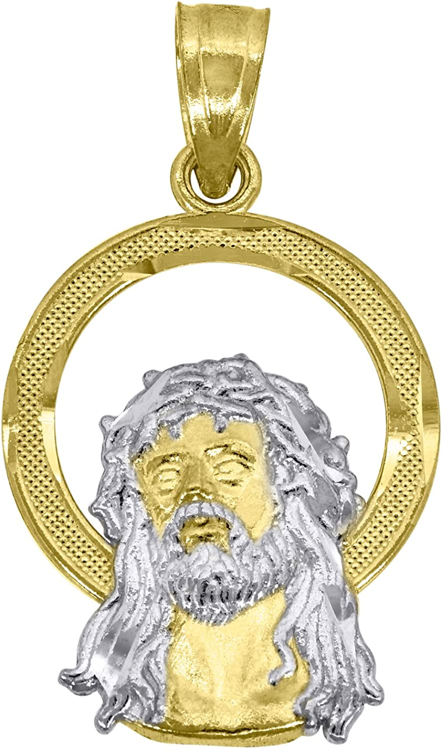 10kt Gold Two-tone Textured Womens Jesus Ht:22.6mm x W:12.9mm Religious Charm Pendant