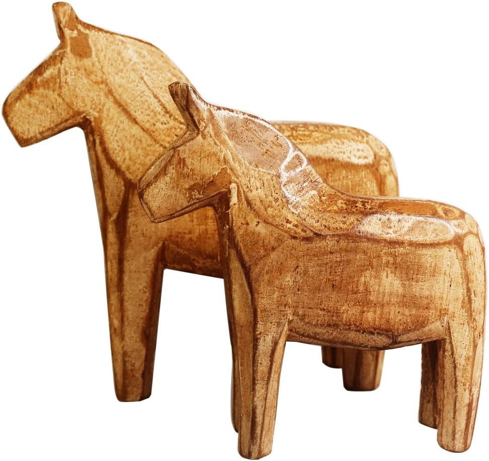 KiaoTime Set of 2 Neutral Painting Dala Horse - Swedish Dala Horse Statue - Vintage Unfinished Wooden Horse Figurine Statue Horse(CAN Painting by Yourself) (Dala Horse)