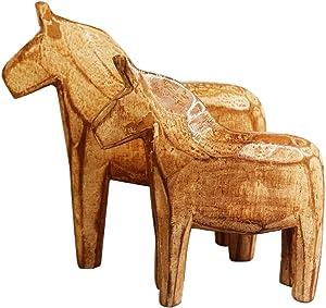 KiaoTime Set of 2 Neutral Painting Dala Horse - Swedish Dala Horse Statue - Vintage Unfinished Wooden Horse Figurine Statue Horse(CAN Painting by Yourself) (Dala Horse)