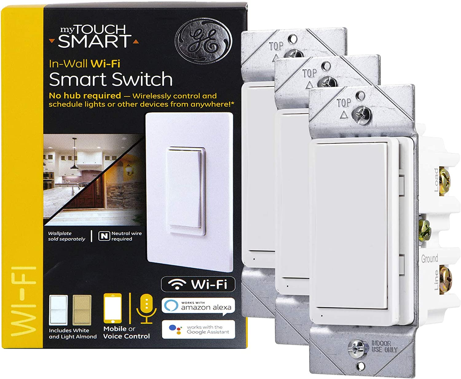 GE myTouchSmart WiFi Smart Light Switch 3-pack, 3-Way/Single Pole, Works with Alexa, Google Assistant, 2.4GHz, No Hub Needed, Neutral Wire Required, White & Light Almond, 47761