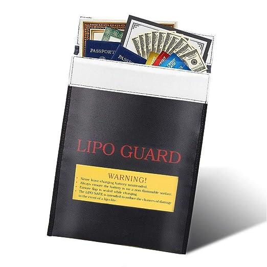 Bolsa Ignifuga Dinero, Bolsa Resistente al Fuego Bolsa de Documentos a Prueba de Fuego para Batería de Litio, Efectivo, Certificado de Nacimiento, ...