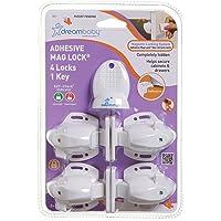 (4 Locks 1 Key) - Dreambaby Adhesive Mag Locks - 4 Locks, 1 Key - White