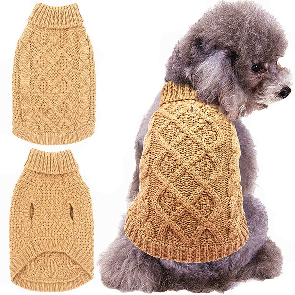 Mihachi Dog Sweater - Winter Coat Apparel Classic Cable Knit Clothes for Cold Weather Beige XS SWTER_MI1XS_BEI_1