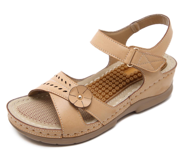 D2C Beauty Women's Slingback Open Toe Bohemian Summer Flat Sandals B073WX8375 US8/UK6/EURO39 Apricot