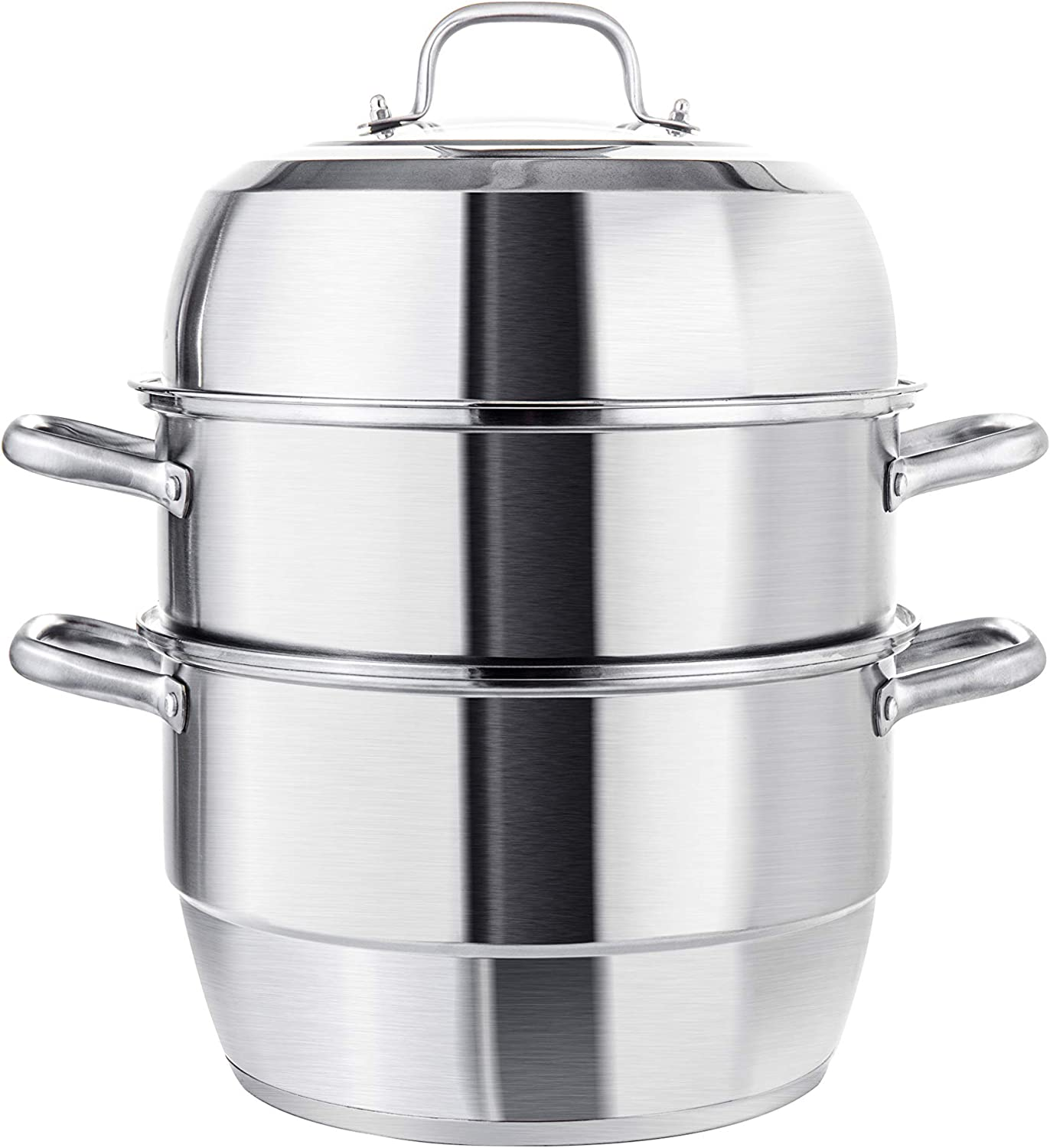 VENTION Heavy Duty Stainless Steel Steamer Pot, Triple-Tier Food Grade Stacked Stream Pot, 23 Quarts