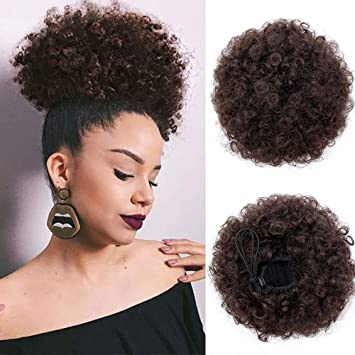 AISI QUEENS Afro Puff Drawstring Ponytail Afro Buns for Black Women Short  Light Brown Bun Puff Drawstring Ponytail Clip in on Hair Extensions \u2026