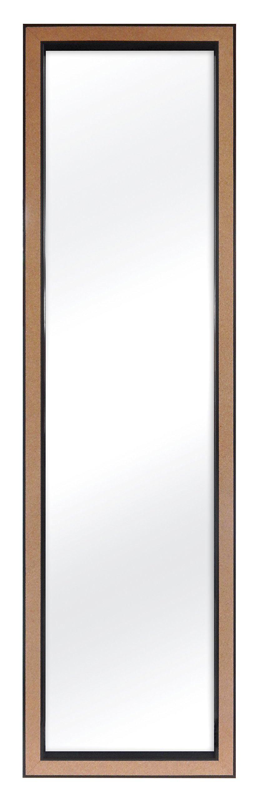 MCS 12x48 Inch Over the Door Mirror with Cork Edge, 14x50 Inch Overall Size, Black (23794)