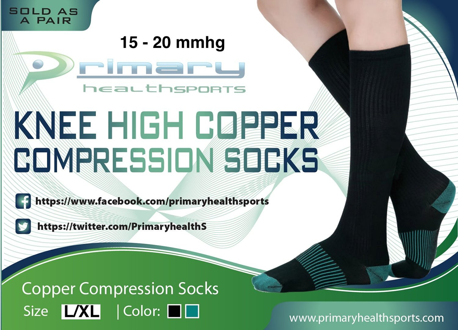 Primary Health Sports Best Compression Copper Socks - Great for Men, Women, Travelers, Nurses, Pregnancy - Protect & Support your Calves, Ankles, and Feet. Graduated Compression. 15-20mmhg by Primary Health Sports (Image #8)