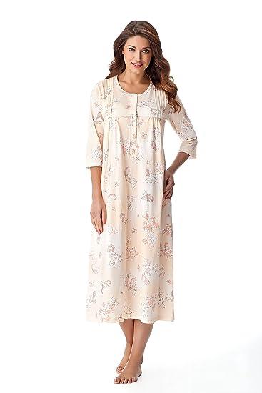 innovative design cbbb2 6ae74 DOROTA Elegantes Langes Damen-Nachthemd Stillnachthemd mit Alloverdruck auf  Pastellfarben, 100% Baumwolle