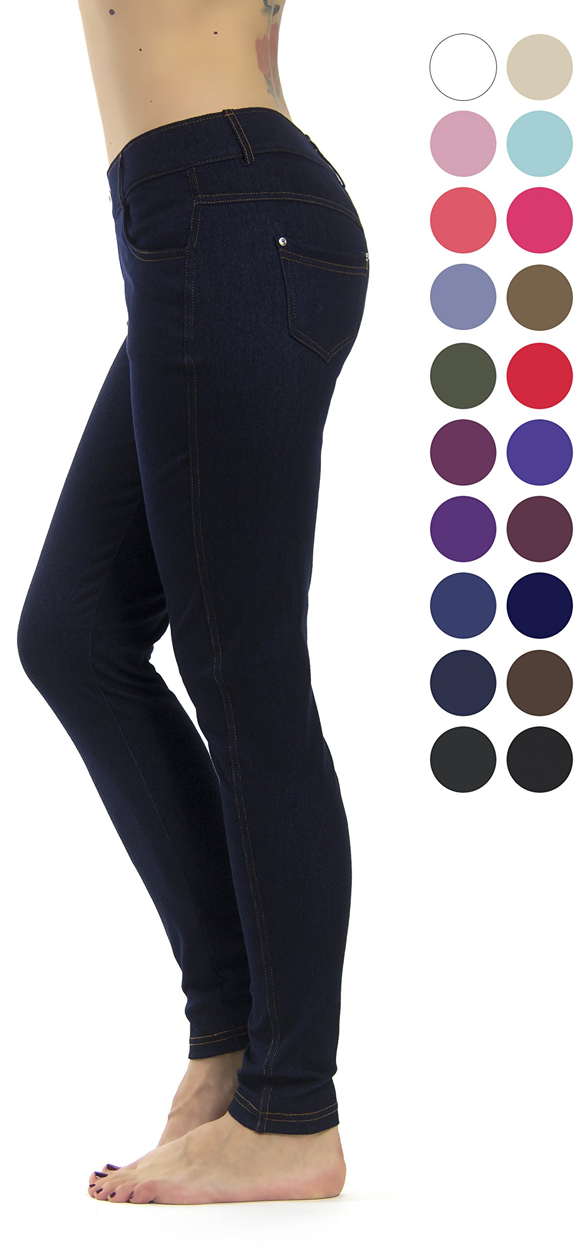 Prolific Health Women's Jean Look Jeggings Tights Slimming Many Colors Spandex Leggings Pants S-XXXL (Large/X-Large, Blue Denim)