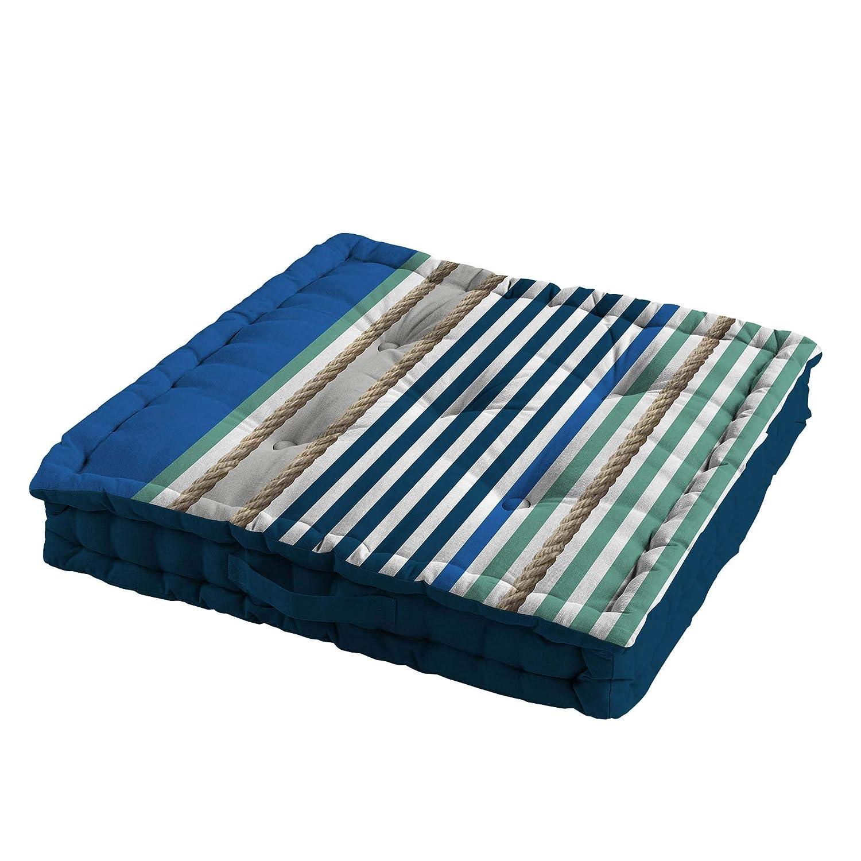 Douceur d'intérieur Cuscino da Pavimento, 60 x 60 x 10 cm, in Cotone Stampato, Colore: Blu Prezzi offerte