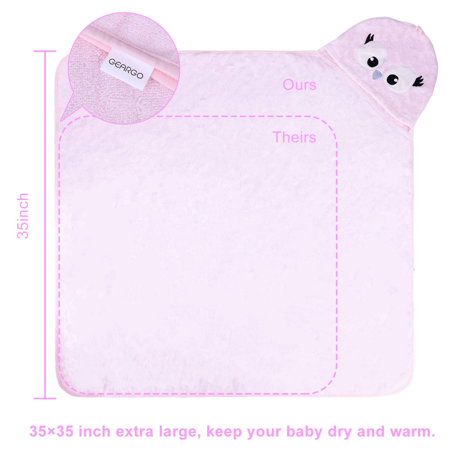 GEARGO Premium Hooded Baby Towel 100/% Organic Bamboo Baby Towels with Hood 35x35 for Newborns Infants Toddlers /& Kids Baby Shower Gift
