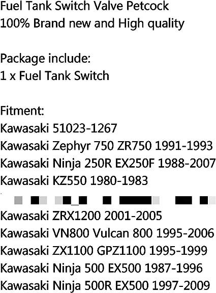 Topteng Fuel Tank Switch Petrol Tap Valve For Kawasaki Vulcan 500 Zephyr 750 Ninja 500r Auto