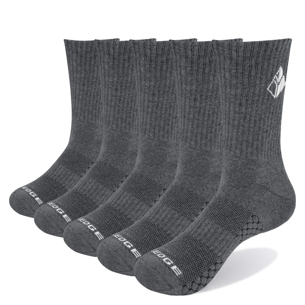 YUEDGE 5 Pairs Women's Performance Cotton Cushion Crew Sports Athletic Hiking Workout Socks(Grey) by YUEDGE