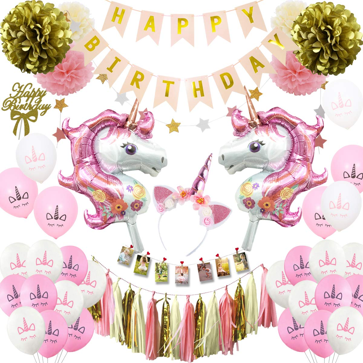 Musebits Pink Gold Unicorn Birthday Party Decorations Essential All In One Including Cake Topper Photo Clips