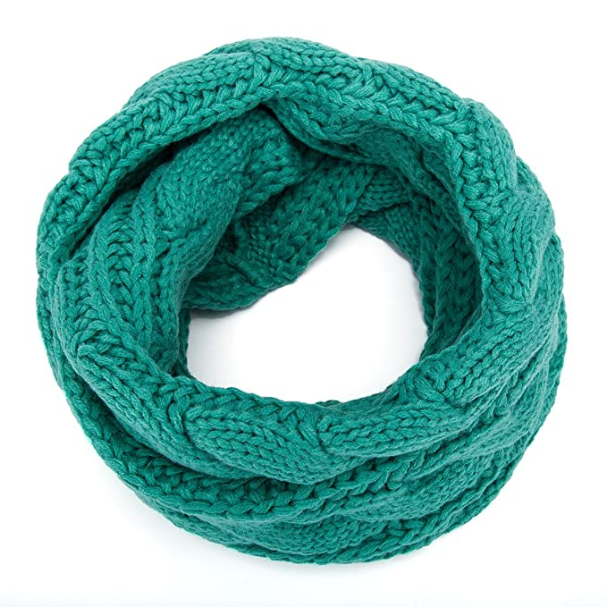 ALLMILL Womens Thick Ribbed Knit Winter Infinity Circle Loop Scarf (Light Green)
