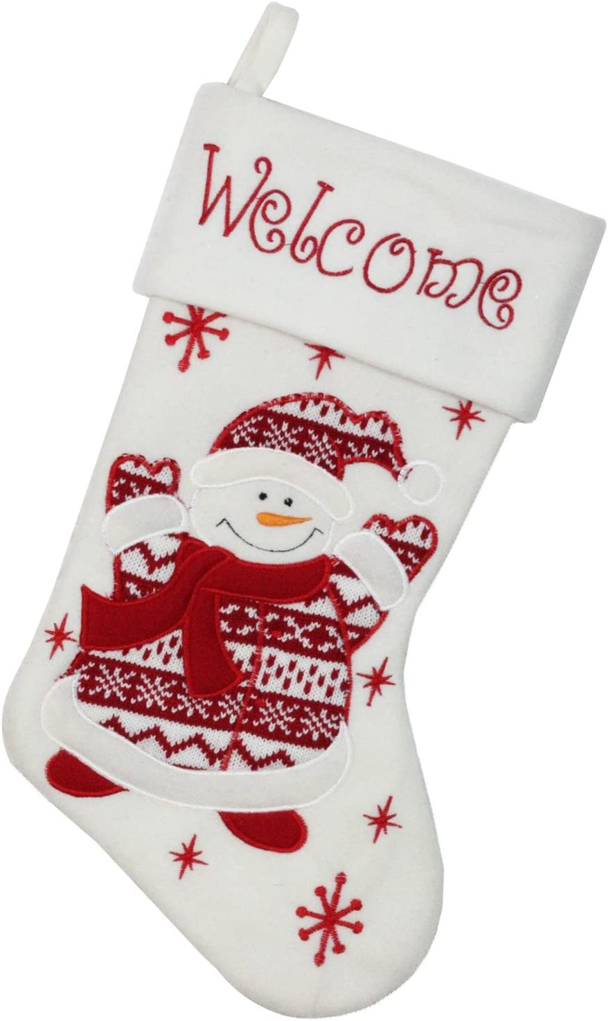 Amazon Com Northlight Welcome Snowman Embroidered Christmas Stocking 18 White Red Home Kitchen