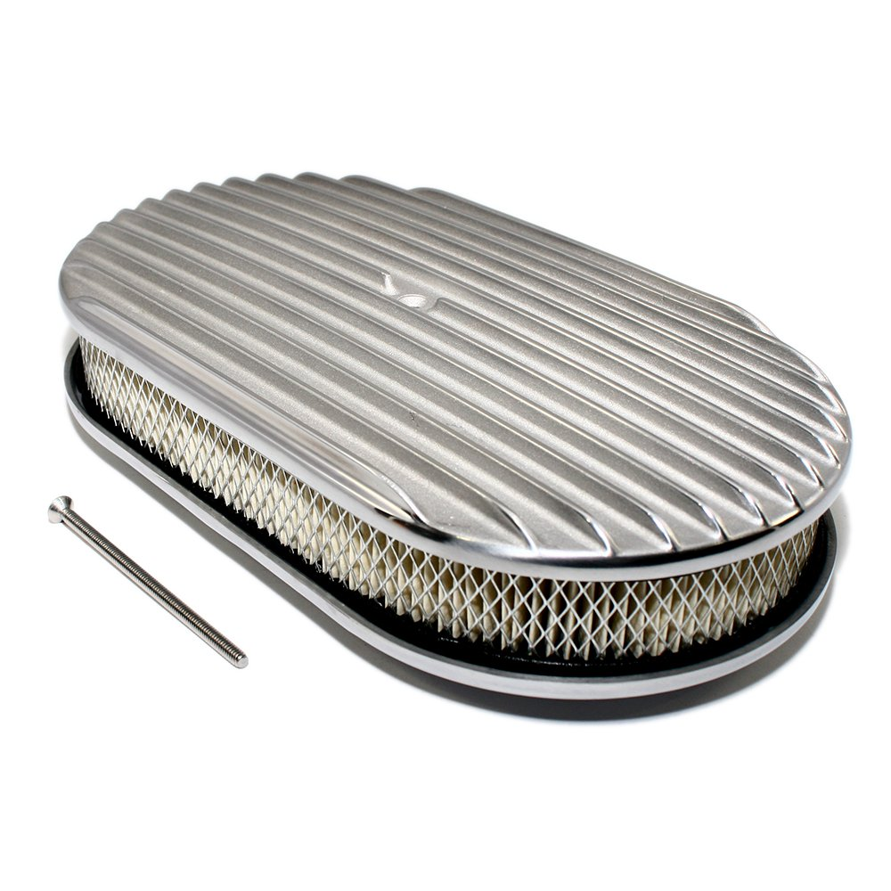 Assault Racing Products A6021-4 15 x 2 Oval Partial Finned Polished Aluminum Air Cleaner Assembly Retro